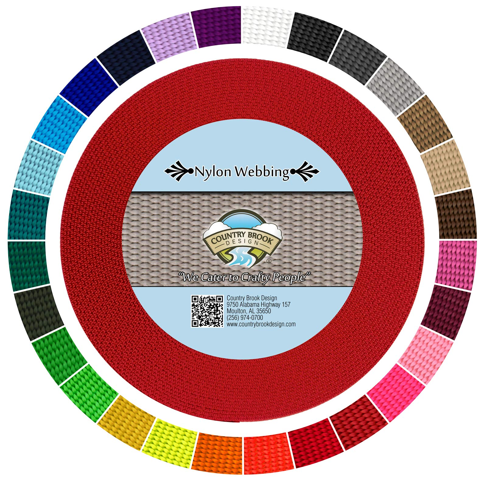 Country Brook Design   Durable 1 Inch Heavy Nylon Webbing   29 Vibrant Colors (Bright Red, 20 Yards)