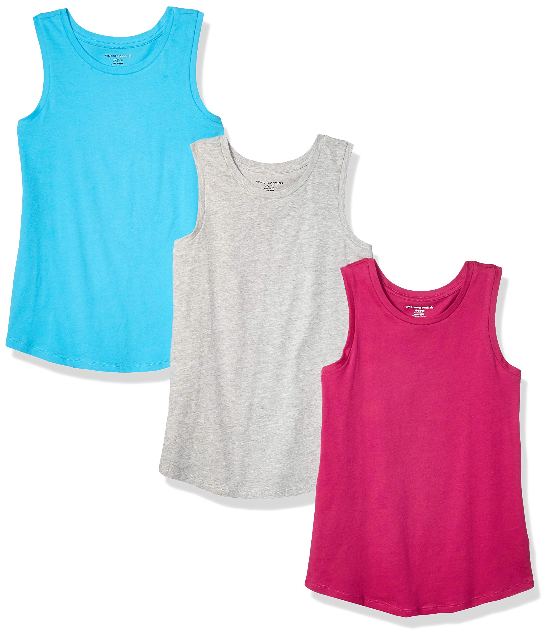Amazon Essentials    Girls' 3-Pack Tank Top, Cyan/Fuchsia/Heather Grey S (6-7) by Amazon Essentials