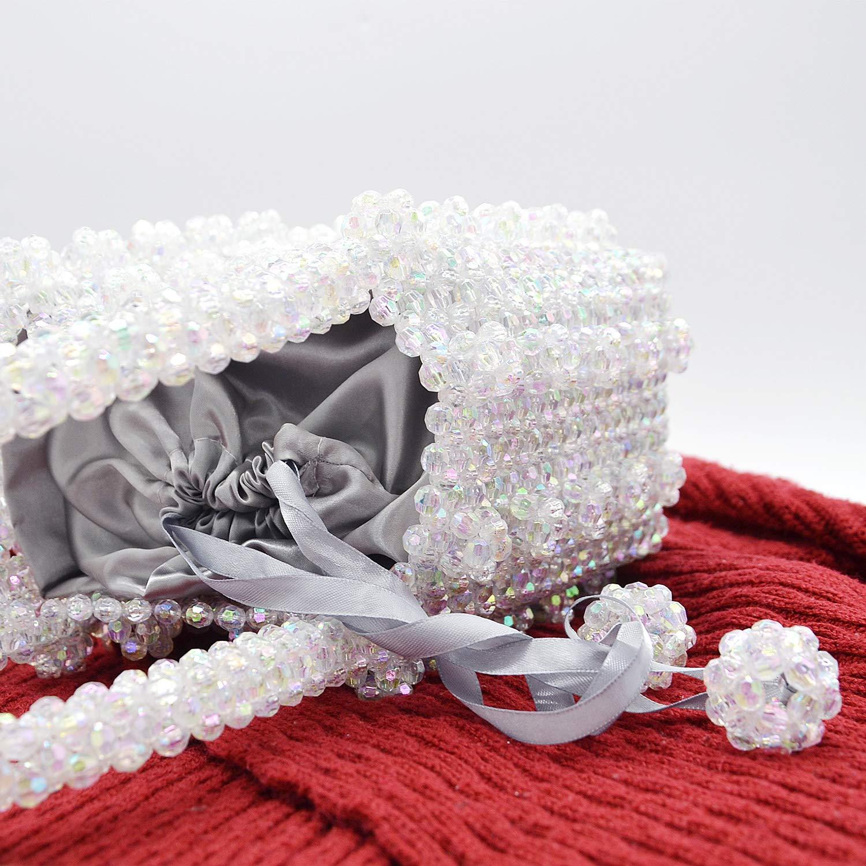 Miuco Womens Beaded Handbags Handmade Weave Crystal Pearl Tote Bags Transparent by Miuco (Image #4)