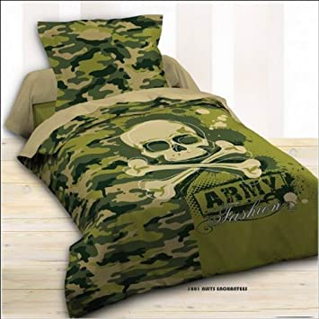 camouflage linge de lit Parure de lit housse de couette 140 x 200 cm taie Militaire  camouflage linge de lit