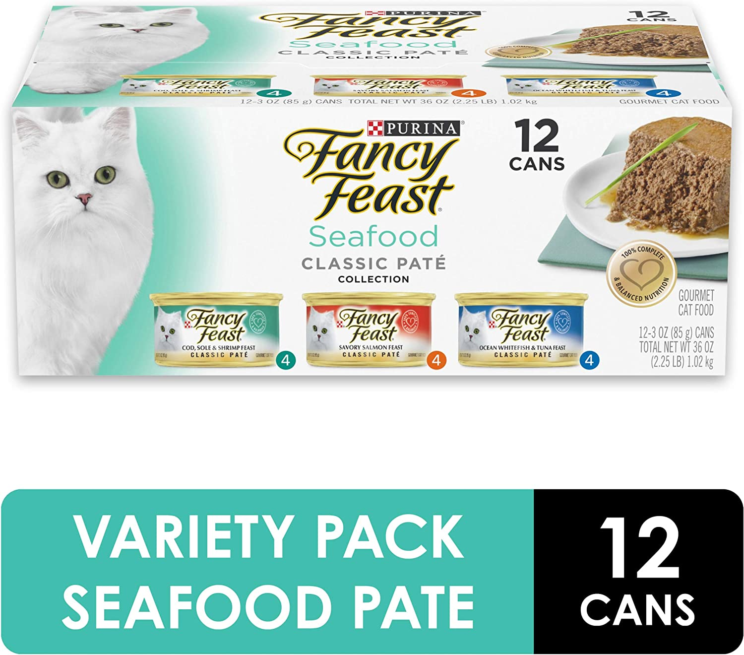 Purina Fancy Feast Grain Free Pate Wet Cat Food Variety Pack, Seafood Classic Pate Collection