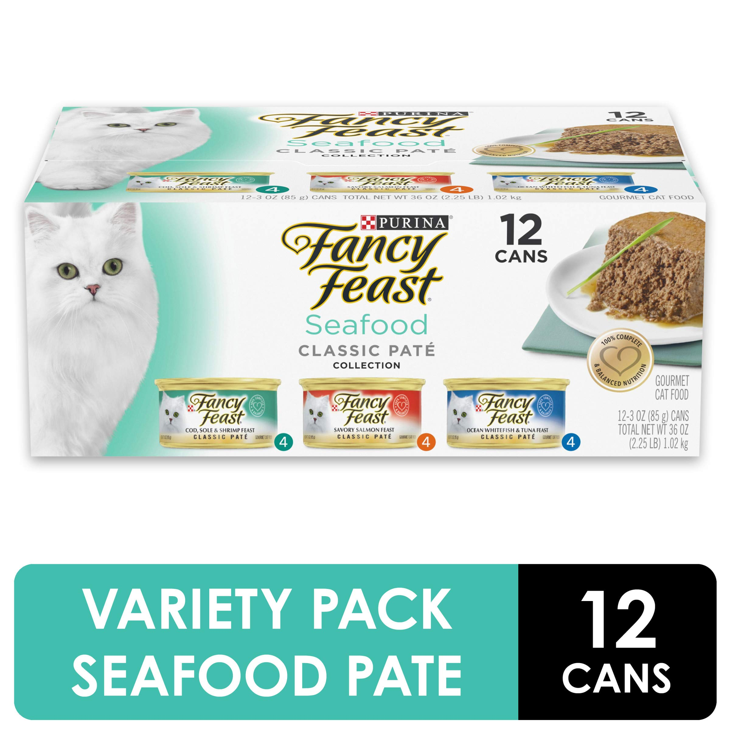 Purina Fancy Feast Grain Free Pate Wet Cat Food Variety Pack, Seafood Classic Pate Collection – (2 Packs of 12) 3 oz…