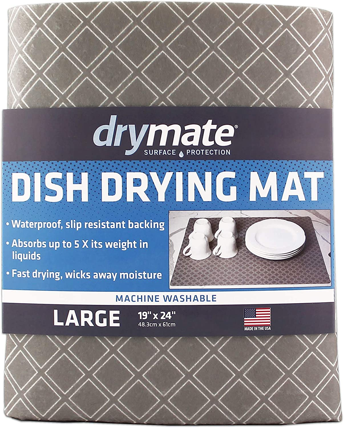 "Drymate Dish Drying Mat, Premium XL Size (19"" x 24""), Kitchen Dish Drying Pad – Absorbent/Waterproof – Machine Washable (Made in the USA) (Taupe Diamond Squares)"