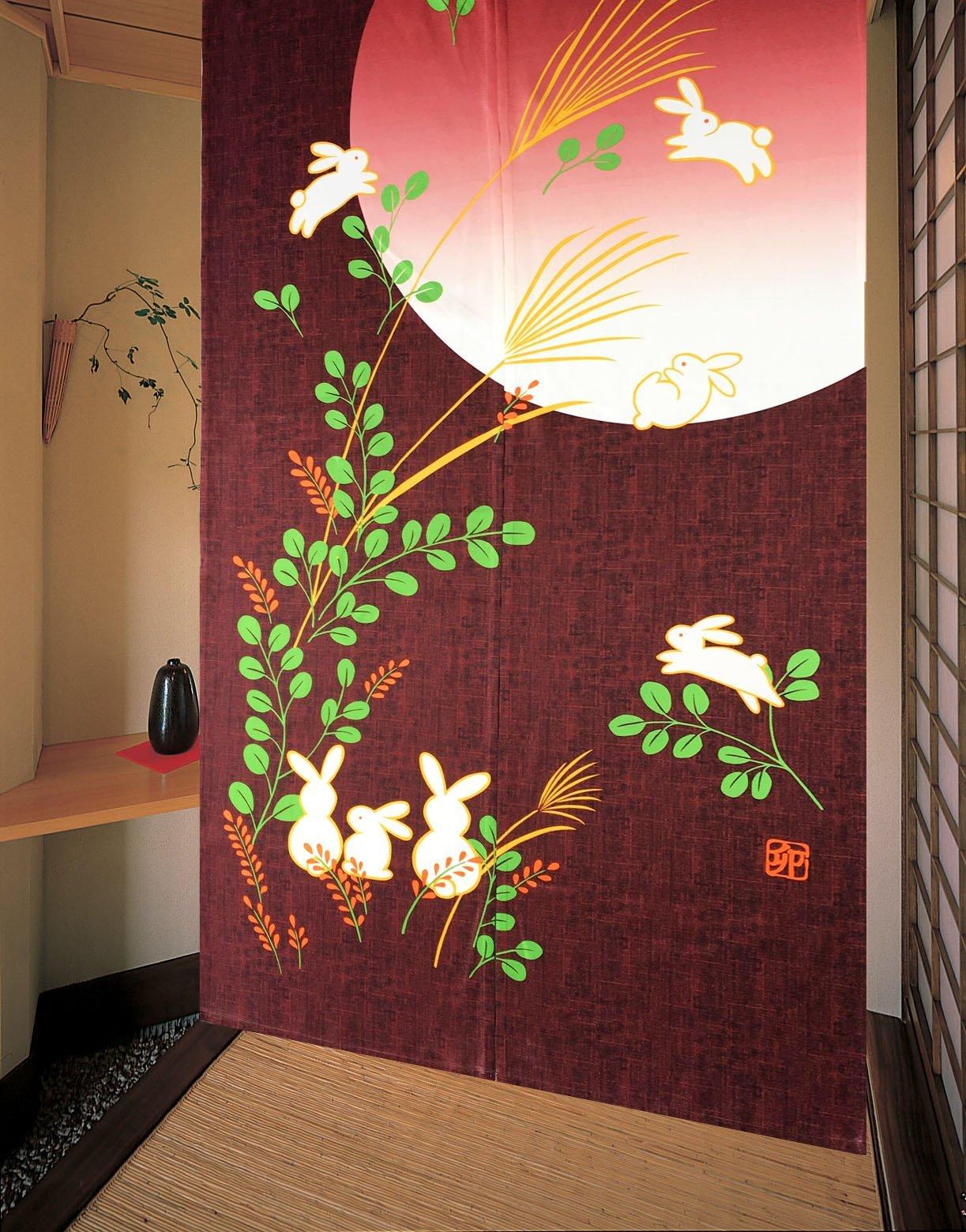 LifEast Japanese Noren Cute Running Rabbits Under Full Moon Kawaii Door Curtain (Red) by LifEast
