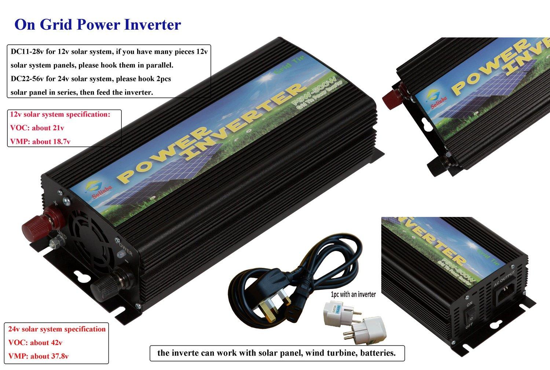 Solinba 500 W sur Grille Tie Inverter Sinusoï dale Pure Solaire Dc11 V-28 V vers AC 190-260v pour 12 V Systè me Solaire 500W-GT-11-220-B-UK-V1