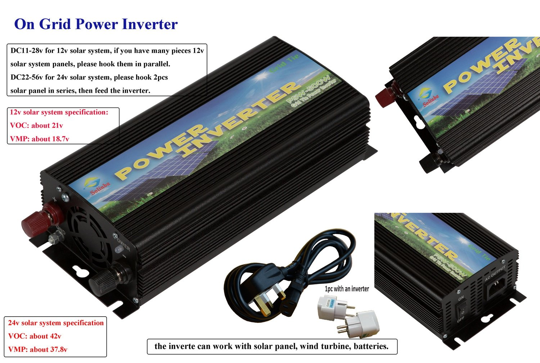 Solinba 500w on Grid Tie Pure Sine Wave Inverter Solar DC11v-28v to AC190-260v for 12v Solar system 500W-GT-11-220-B-UK-V1