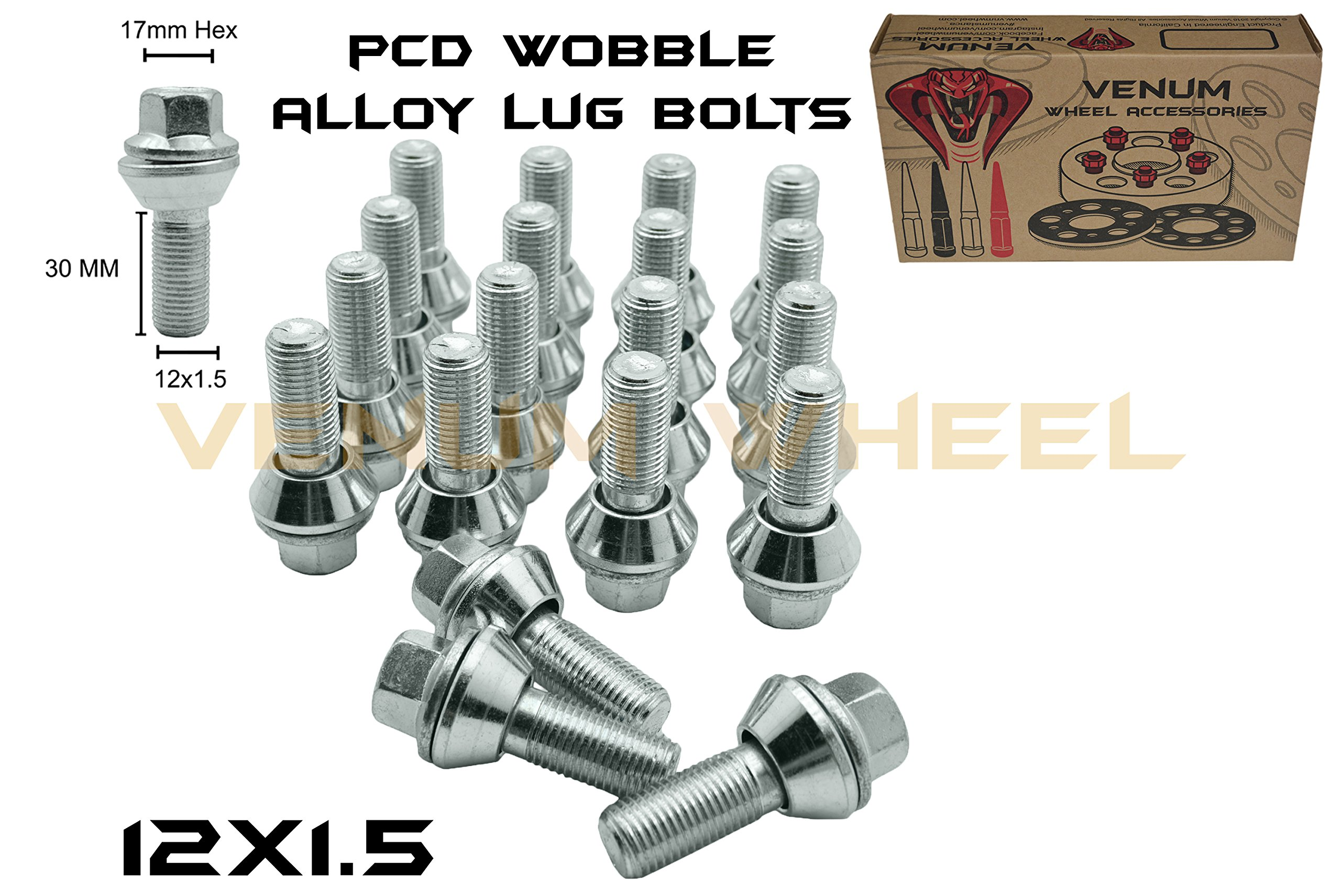 20pc 17mm Hex Zinc PCD Variation Lug Bolts M12x1.5 (30mm) Shank 1.2 Radius Fits on 5x114 Wheels to Adapt 5x112 wheels U.S by Venum wheel accessories