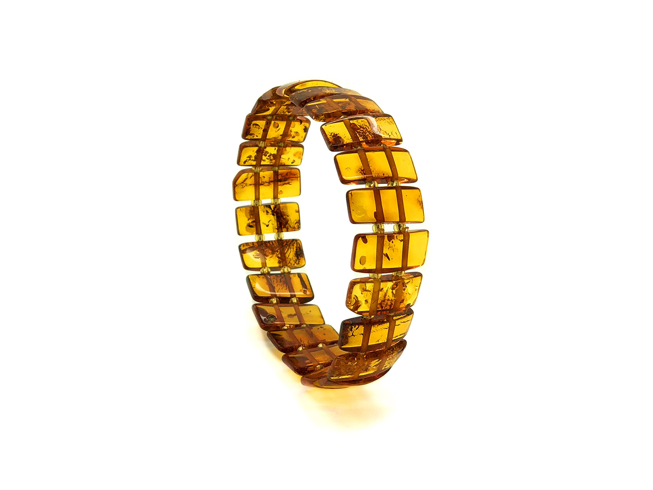 Genuine Natural Baltic Cognac Amber Stretch Bracelet For Women