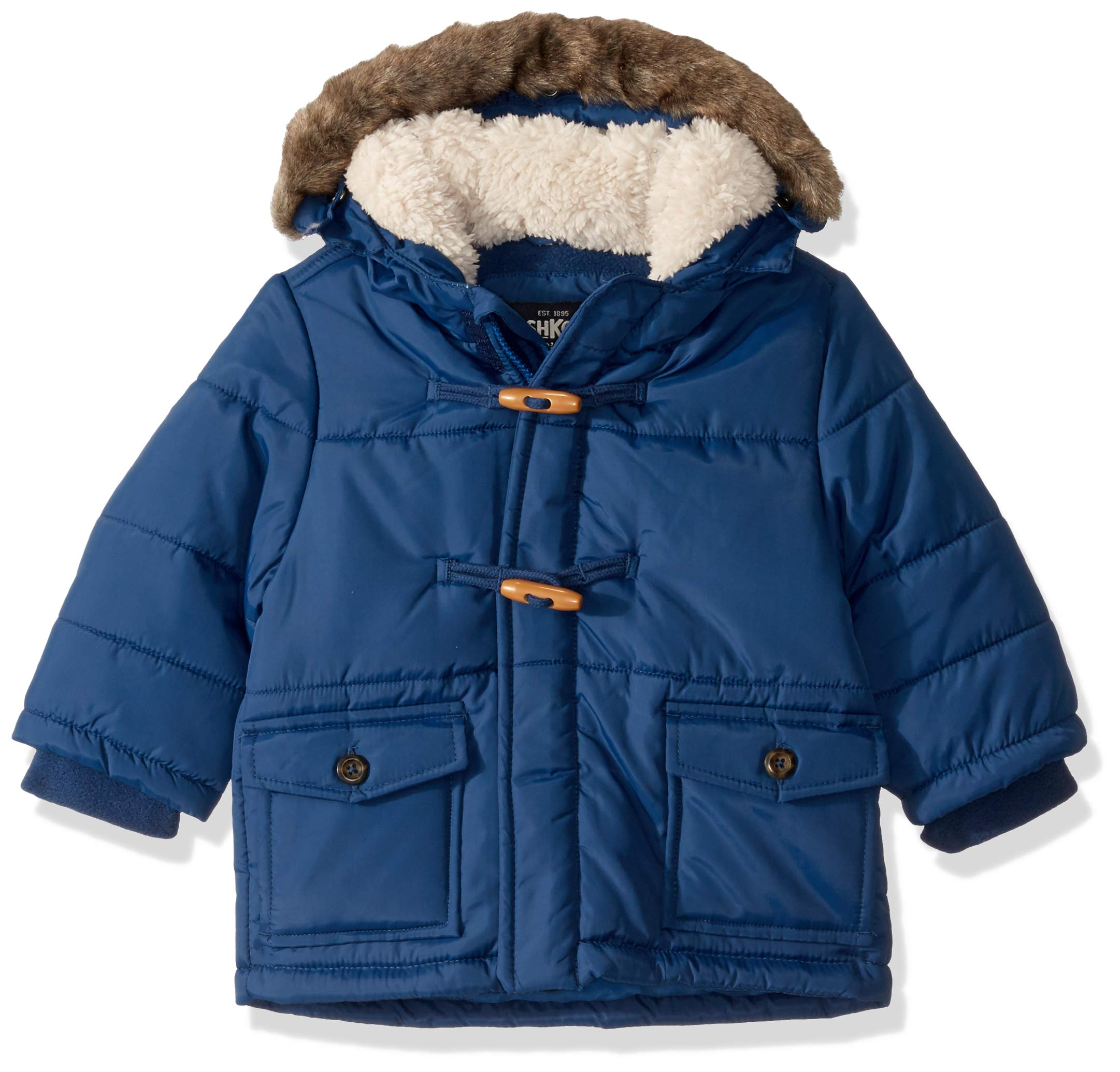 Osh Kosh Baby Boys Heavyweight Winter Jacket W/Hood Trim, Denim Daze, 24Mo by OshKosh B'Gosh