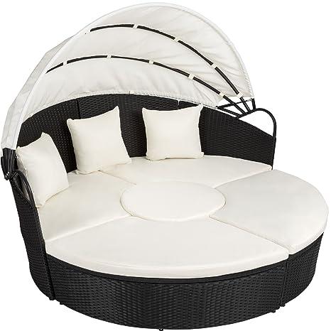 TecTake Conjunto de sillones de ALUMINIO y ratán sintético con un techo isla para tomar el sol - disponible en diferentes colores - (negro | no. ...