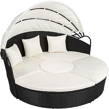 TecTake Canapé de jardin chaise longue bain de soleil en aluminium et  résine tressée avec toit dépliable | largeur: env. 178cm | diverses  couleurs au ...