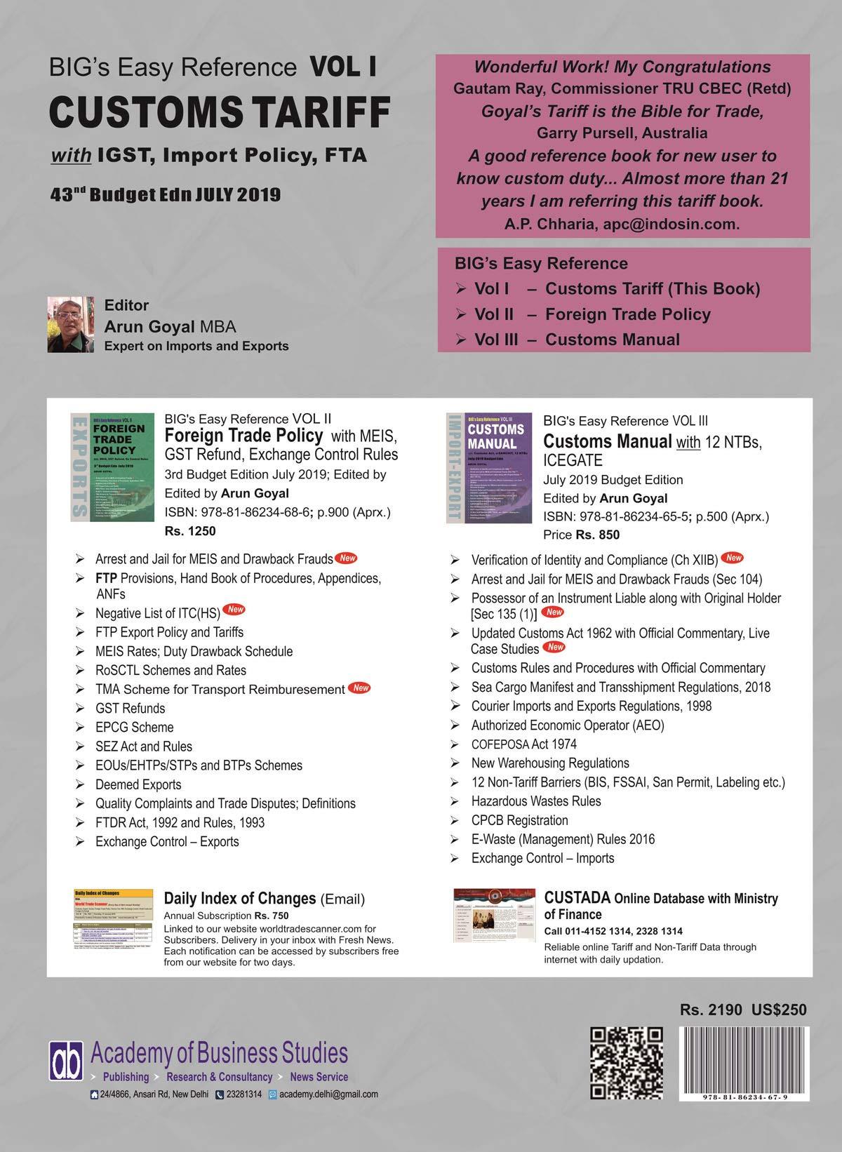 Buy BIG's Easy Reference Customs Tariff Vol  I Book Online