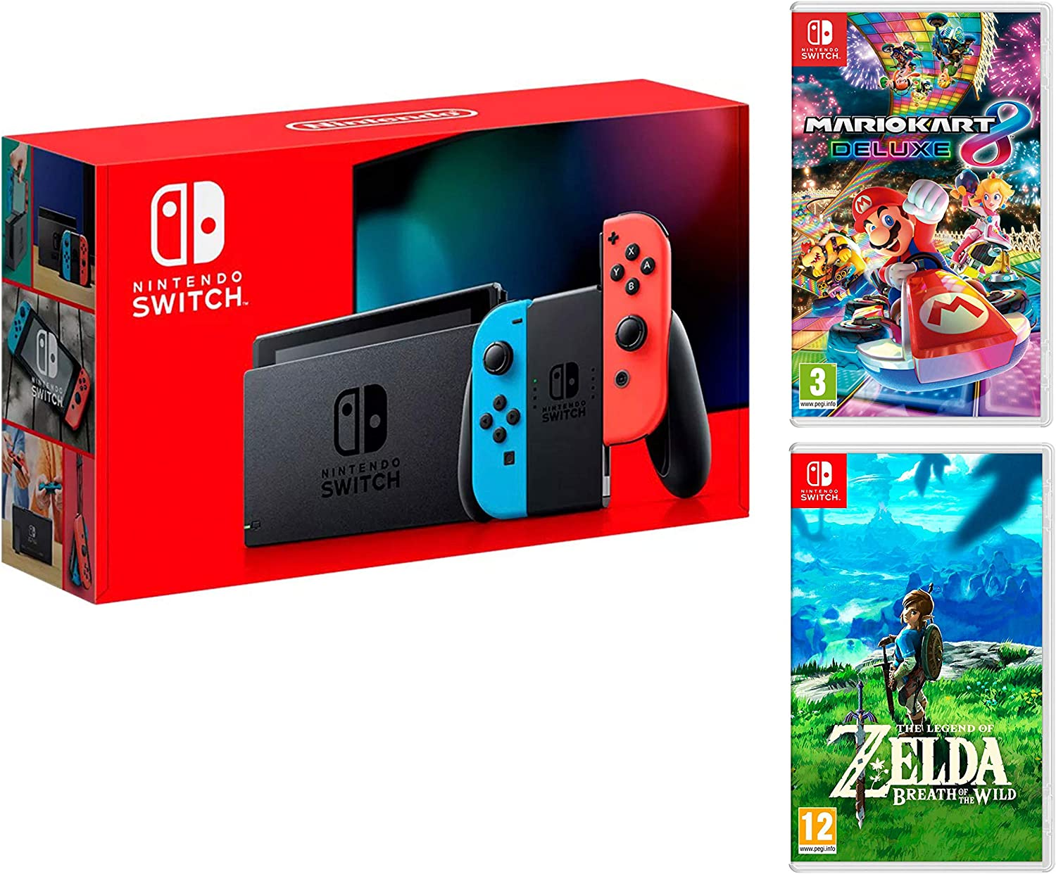 Nintendo Switch Consola 32Gb Azul/Rojo Neón + Mario Kart 8 Deluxe + Zelda: Breath of The Wild: Amazon.es: Videojuegos