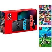 Nintendo Switch Consola 32Gb Azul/Rojo Neón + Mario Kart 8 Deluxe + Zelda: Breath of The Wild