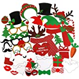 Tinksky 38Pcs Christmas Photo Booth Props Kit on a Stick for Party Supplies with Glasses Moustache Red Lips Deer Horn Santa Hat