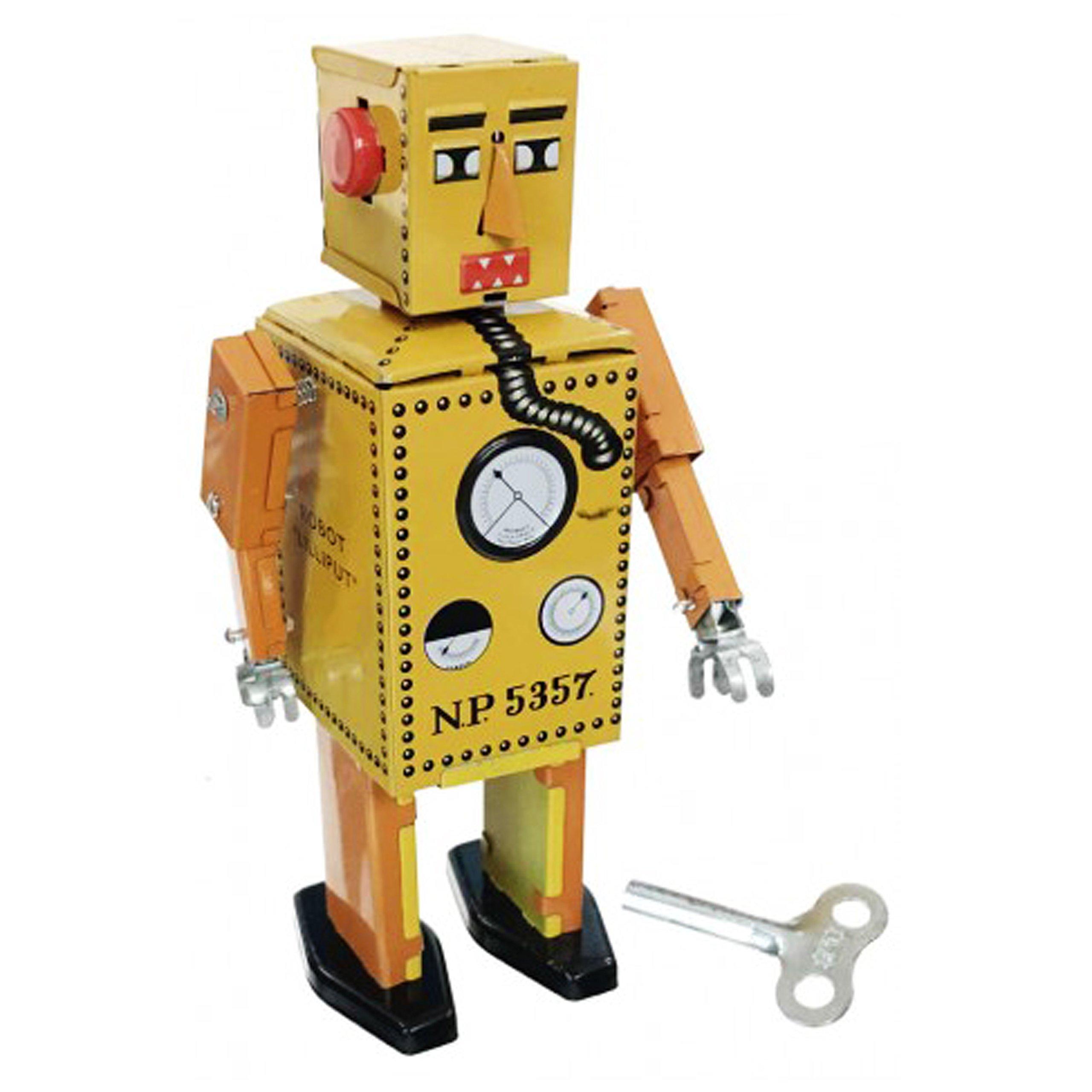 Off the Wall Toys Vintage Style Lilliput Robot Junior Yellow Tin Toy Original