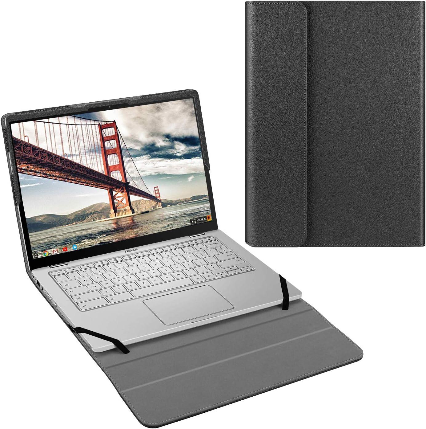 """Fintie Sleeve Case for 14"""" ASUS Chromebook Flip C434 C434TA - Premium PU Leather Protective Portfolio Book Cover (NOT Fit 14"""" ASUS Chromebook C403NA / C423NA / C425 Clamshell), Black"""