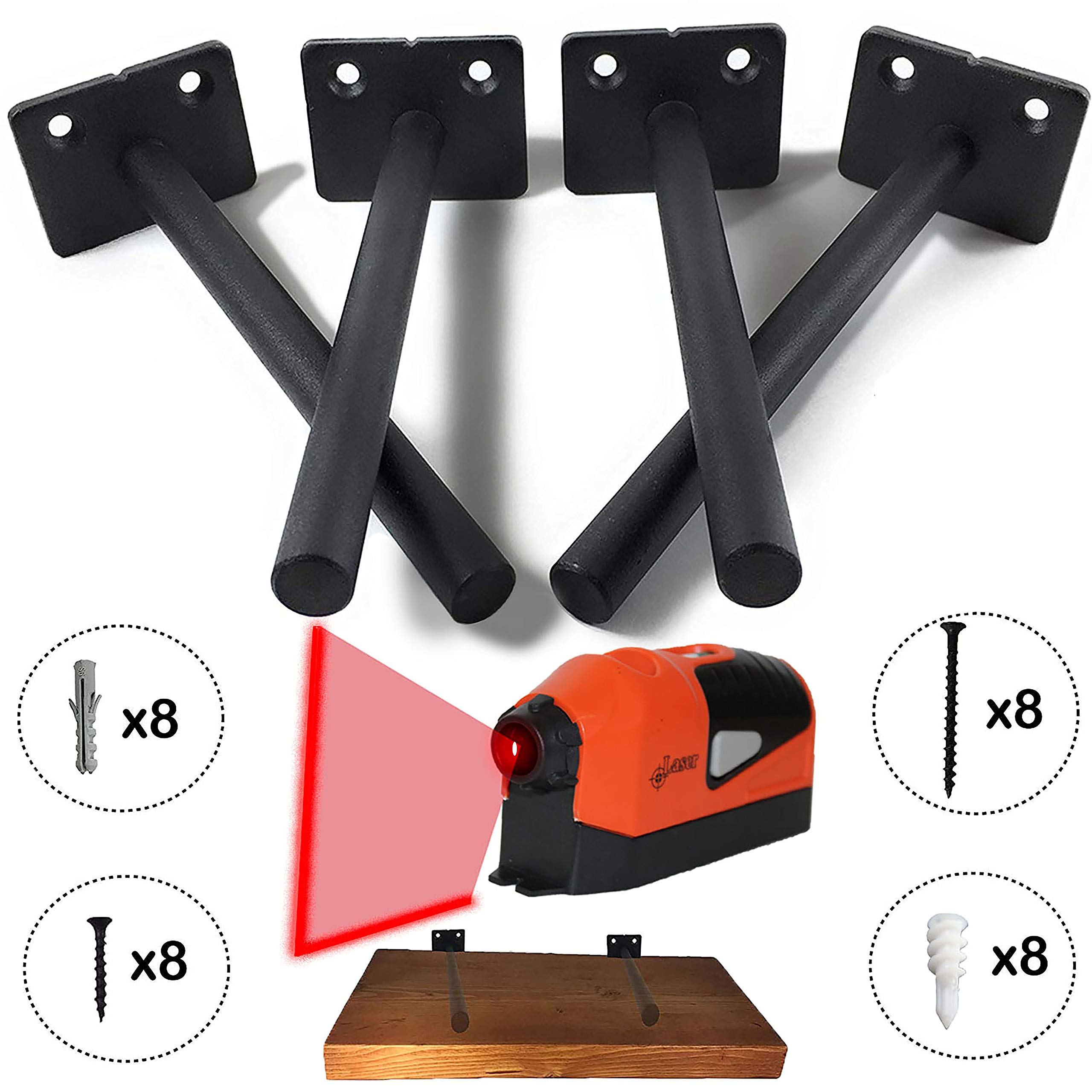 6'' Heavy Duty Floating Shelf Support Brackets - Includes Laser Level To Guarantee Level Shelves - Includes Wall Plugs and Screws -4 Pcs of Black Solid Steel Bracket -DIY Concealed Shelf (Large Size)