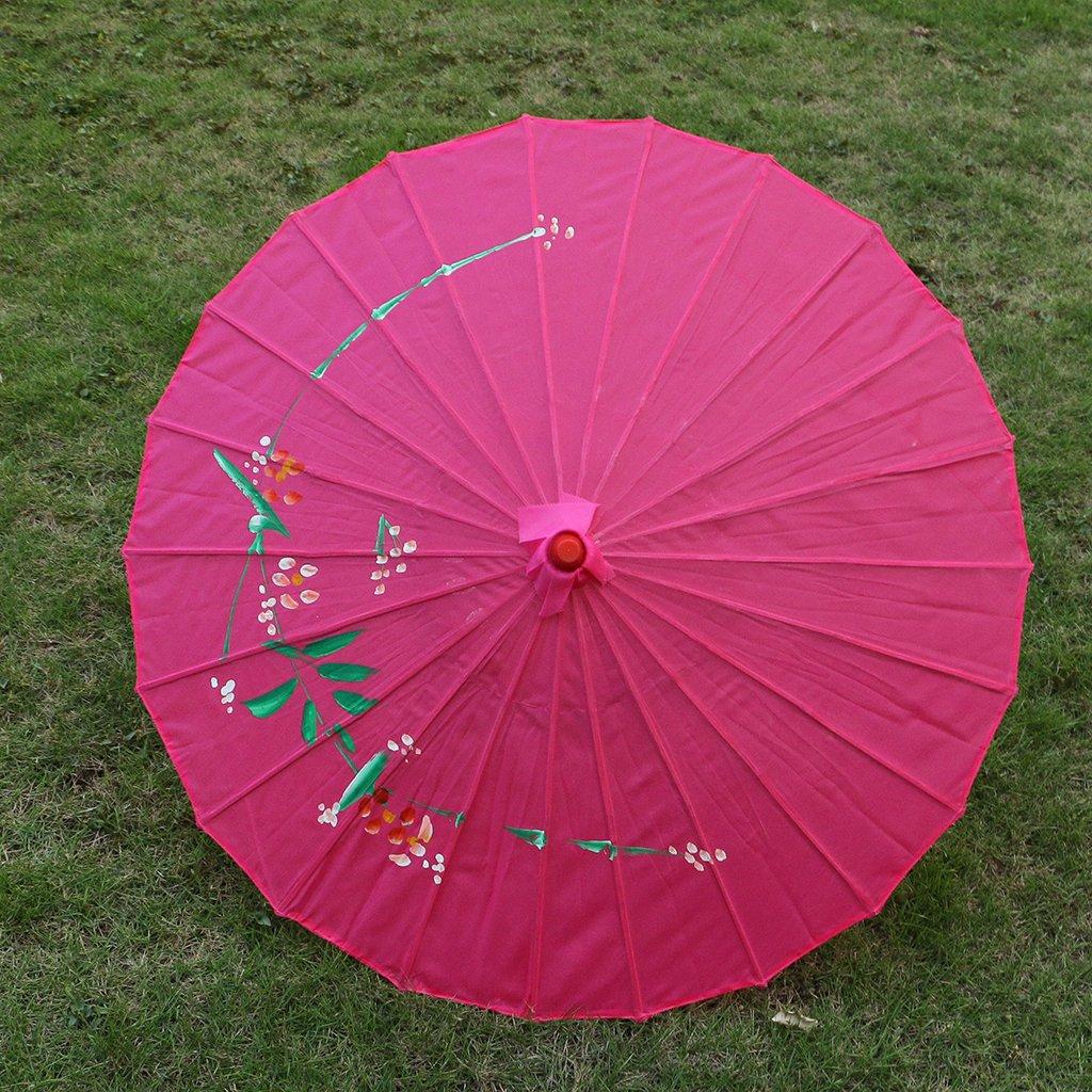 Homyl Pieces of 2 Elegant Women Wooden Handle Cloth Floral Umbrella Dance Prop Rose Red+Purple by Homyl (Image #3)