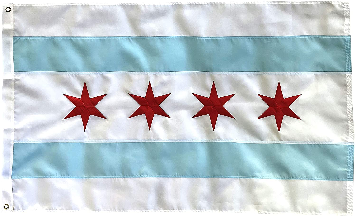 Chicago Flag - 3X5 Foot Outdoor Nylon Banner with Embroidered Stars Double Stitched Sewn Stripes, Brass grommets and Vibrant UV Protected Color - Decal Included