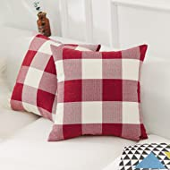 HOME BRILLIANT Retro Farmhouse Decorative Pillow Covers Checkered Plaid Cotton Linen Throw Pillow Case Cushion Cover Pillowcase for Sofa, Set of 2, 18inch (45cm), Red White