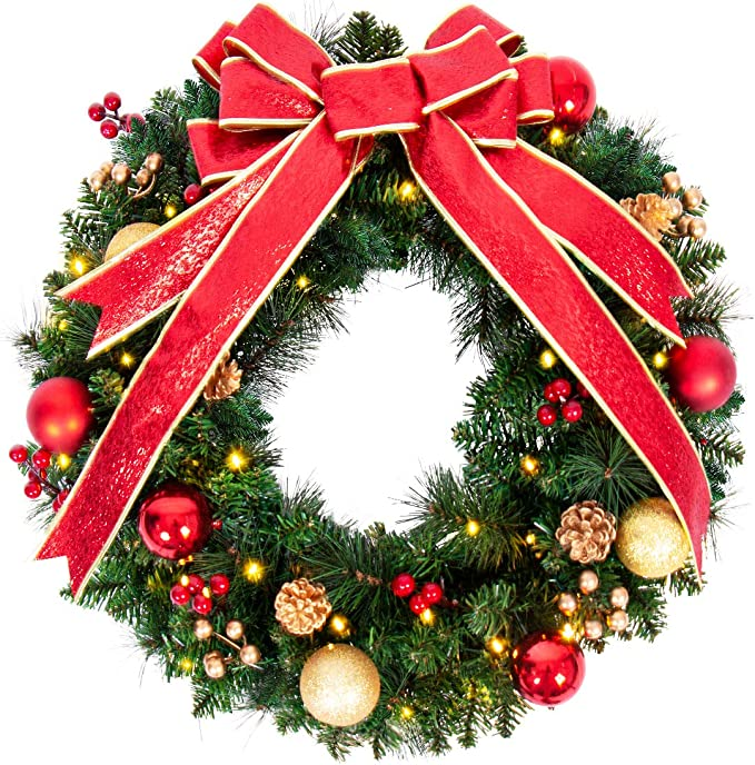 Amazon.com: ANOTHERME 24 Inch Pre-lit Christmas Wreath Red Bow, Red and Gold Ball Berries Pine Core, Artificial Door Wreath 50 Clear LED Lights with Timer, Hook Included: Home & Kitchen
