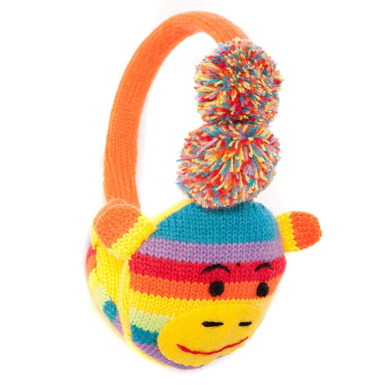 Cute Multi-Coloured Rainbow Monkey Style Winter Thermal Fashion Earmuffs with pompoms - Onesize fits most