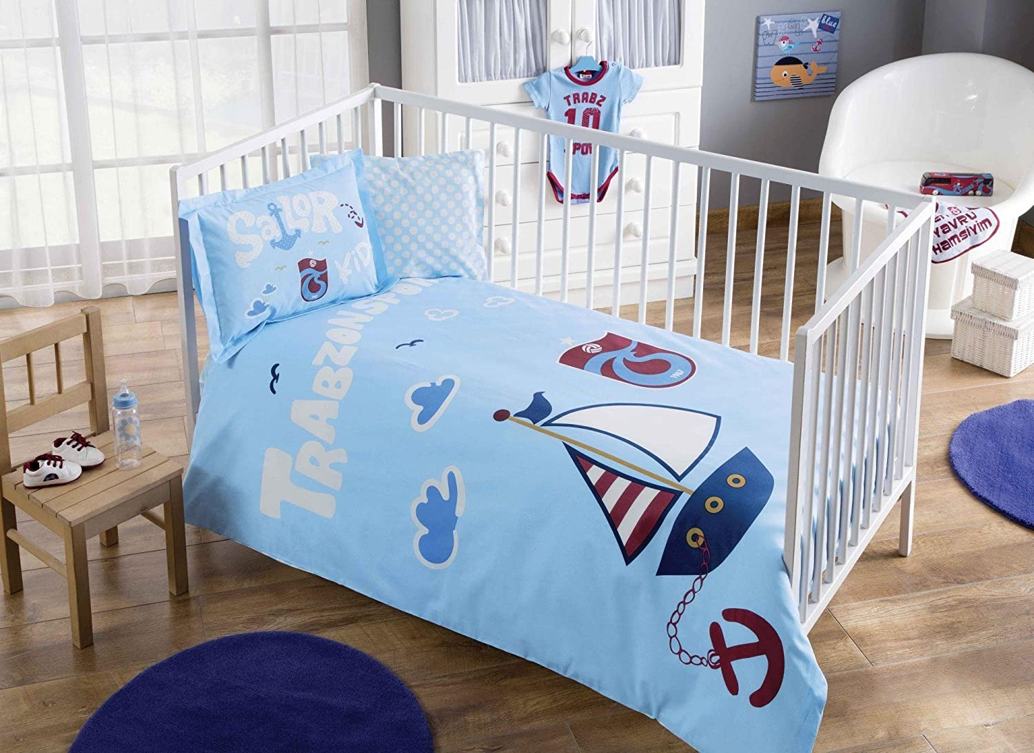 100% Organic Cotton Soft and Healthy Baby Crib Bed Duvet Cover Set 4 Pieces, Trabzonspor Sailor Baby Bedding Set TAC