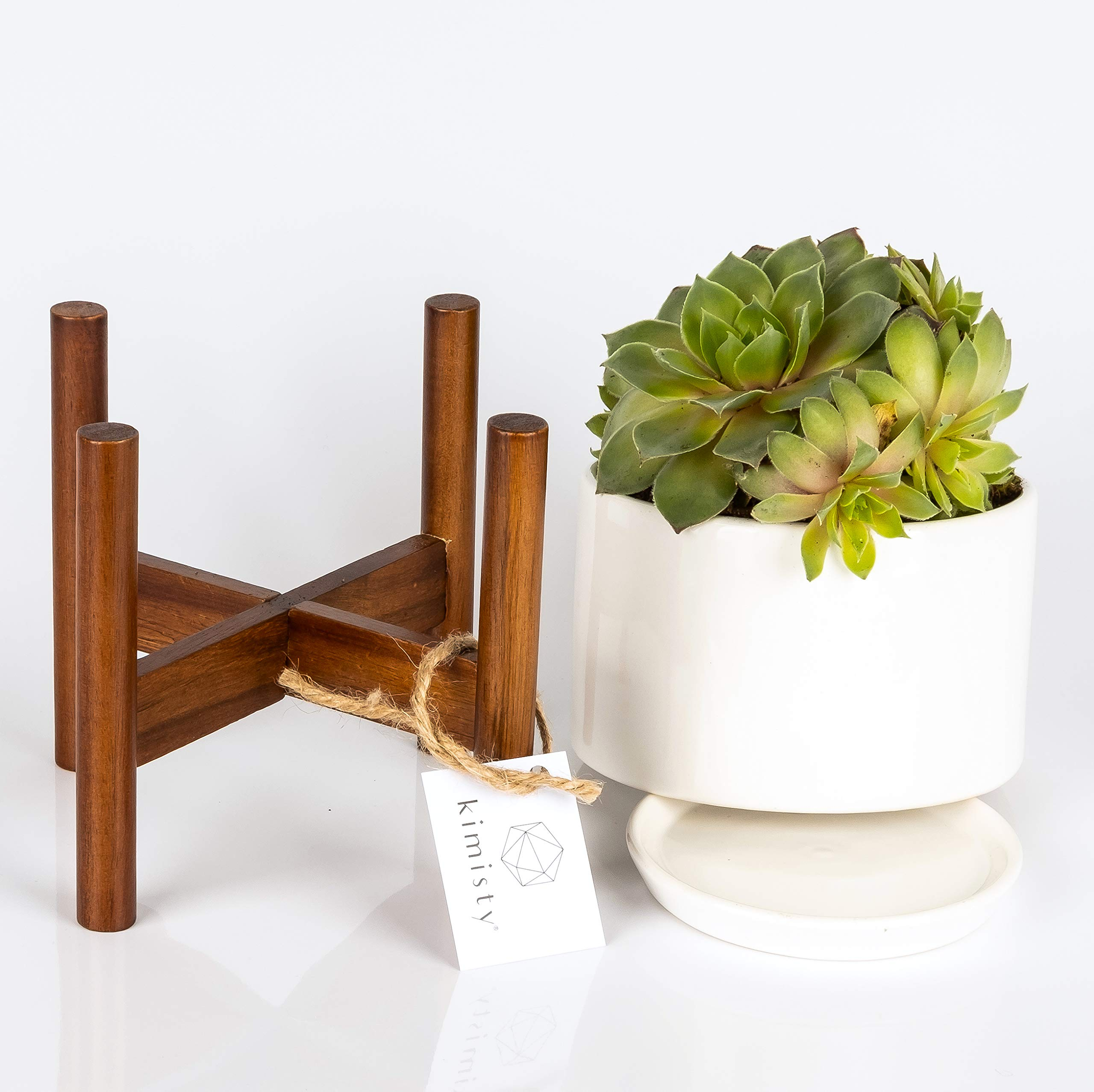 Kimisty Plant Pot, Large Round Succulent Planter, 5 Inch Pot with Wood Stand and Saucer, Round White Planters, Mid Century Décor, Cactus and Plant Container with Drainage, Indoor