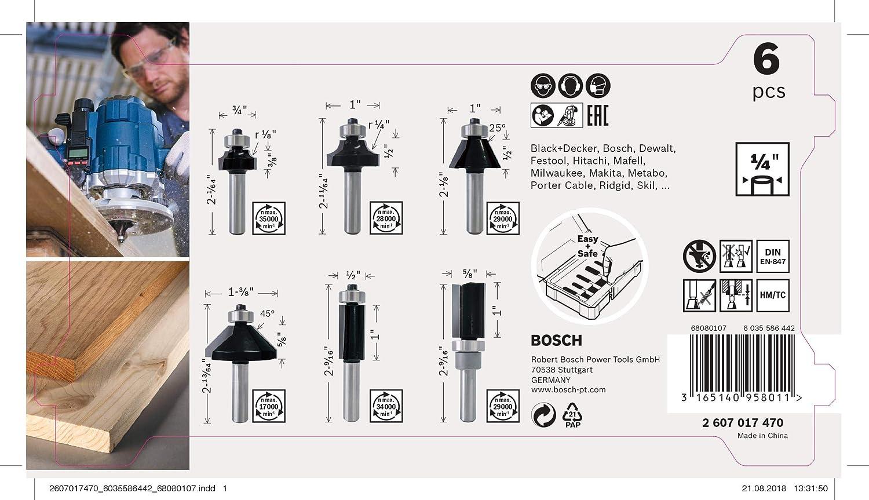 Bosch Professional 2607017470 per legno, per frese verticali con gambo da 1//4 Set di 6 accessori Set di frese per bordi e bordi