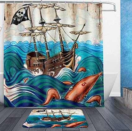 HOMESTORES Awesome Octopus Pirate Skull Ship Shower Curtain Liner With Hooks And Bath Rug Mat