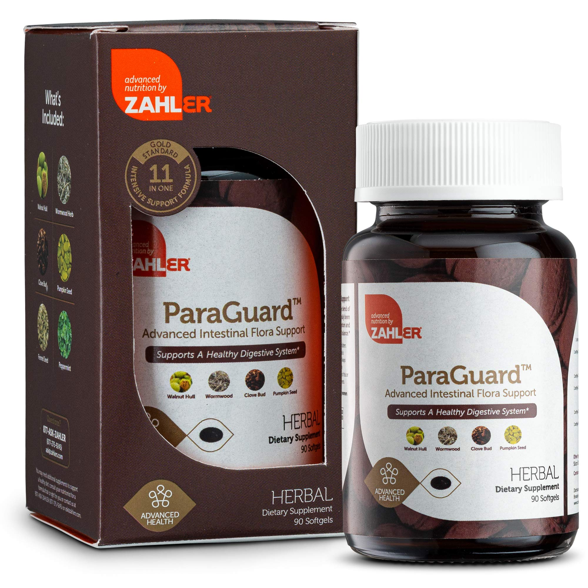 New! Zahler ParaGuard, Advanced Digestive Cleanse, Intestinal Support for Humans, Contains Wormwood, Certified Kosher 90 Tiny Softgels by Zahler