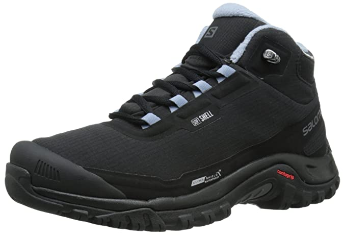 Women Autumn Winter 2017 Shoes Salomon Shelter Cs Wp W Black Black Stone Blue Ankle shoes United States Size 7 US 6 5 8