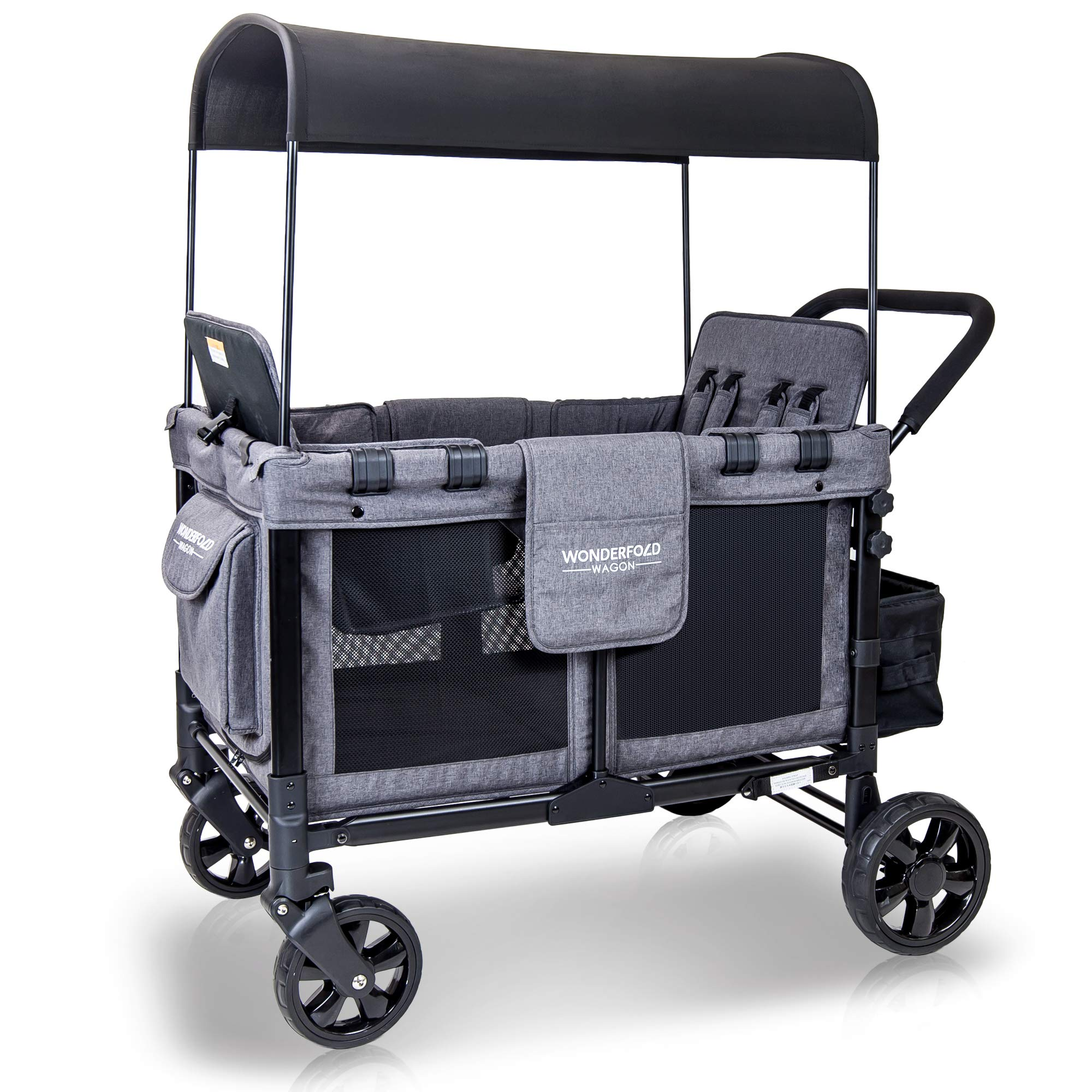 WonderFold Baby Multi-Function Four Passenger Wagon Folding Quad Stroller with Removable Reversible Canopy & Seats up to 4 Toddlers, Gray by WonderFold