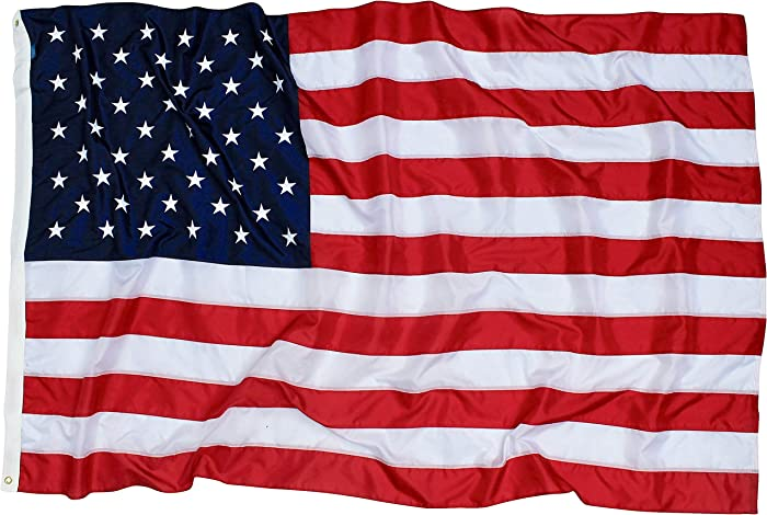 5x8 Ft American Flag   100% Made in USA   US Flag in Heavy Duty Outdoor Nylon - UV Fade Resistant - Premium Embroidered Stars, Sewn Stripes, and Brass Grommets (5 x 8 Foot)