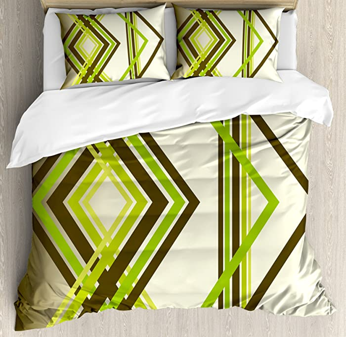 Ambesonne Abstract Duvet Cover Set, Geometric Diamond Shape Bands in Various Shades Illustration, Decorative 3 Piece Bedding Set with 2 Pillow Shams, Queen Size, Army Green