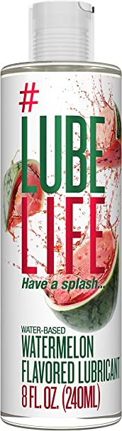 #LubeLife Water Based Watermelon Flavored Lubricant, 8 Ounce Sex Lube for Men, Women and Couples (Watermelon)