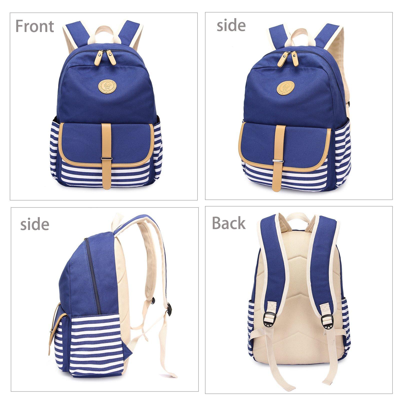Abshoo Causal Travel Canvas Rucksack Backpacks for Girls School Bookbags (Navy) by abshoo (Image #2)