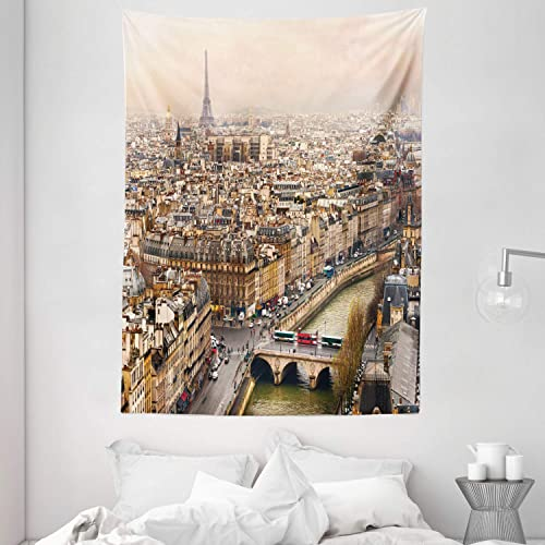 Ambesonne Eiffel Tower Tapestry, Paris Streets Busy Day Buildings Bridge River City Horizon Photography Print, Wall Hanging for Bedroom Living Room Dorm, 60 X 80 , Beige