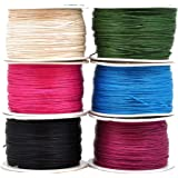 Mandala Crafts 1mm 109 Yards Jewelry Making Crafting Beading Macramé Waxed Cotton Cord Thread (6 Rolls Combo 4)