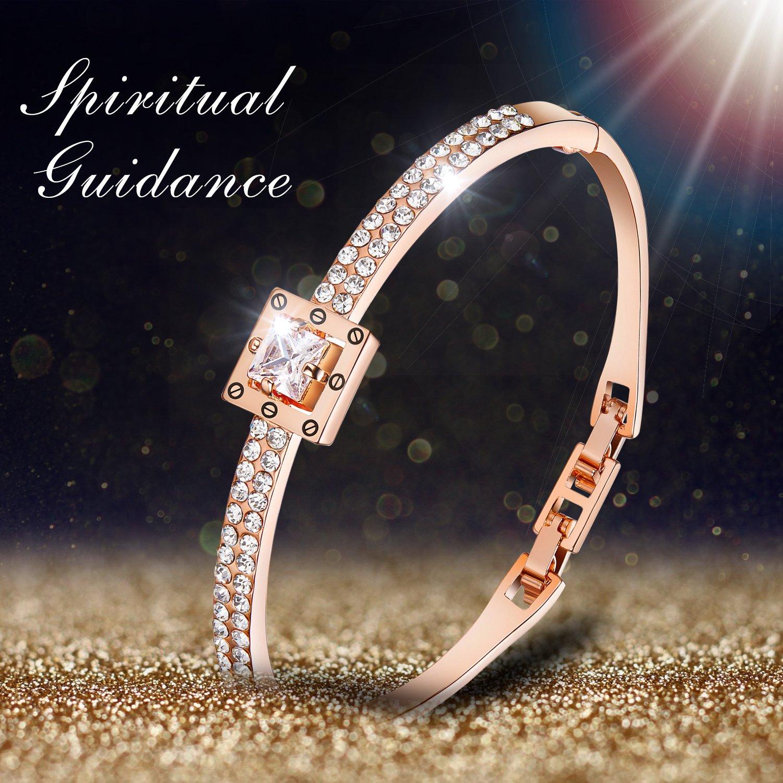 Menton Ezil Princess Crystal Bracelet Rose Gold Luxury Jewelry Adjustable Bangle Bracelets for Womens Girls Wife Anniversary Fashion Collections Loves Design by Menton Ezil (Image #3)