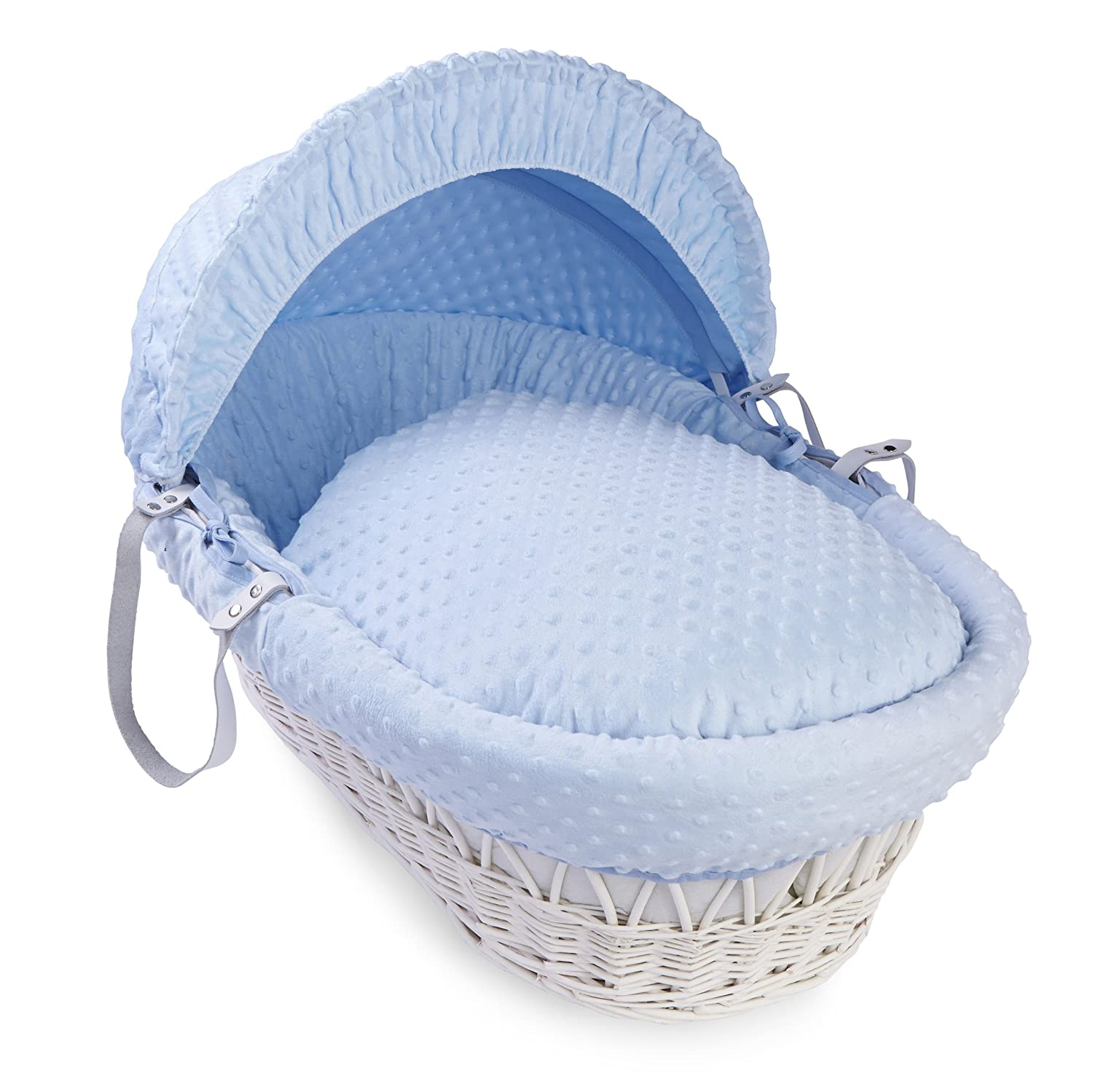 Dimple White Wicker Moses Basket - Blue