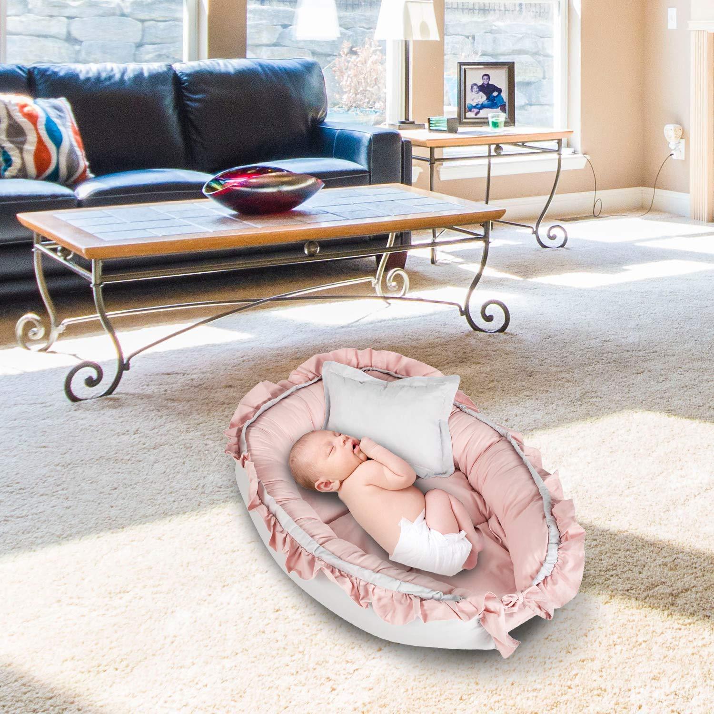 Babynest nestchen Baby Nest babynestchen Kokon kuschelnest f/ür Neugeborene SET mit Kissen Bett liegekissen 90 x 60 cm Wei/ß-Blau