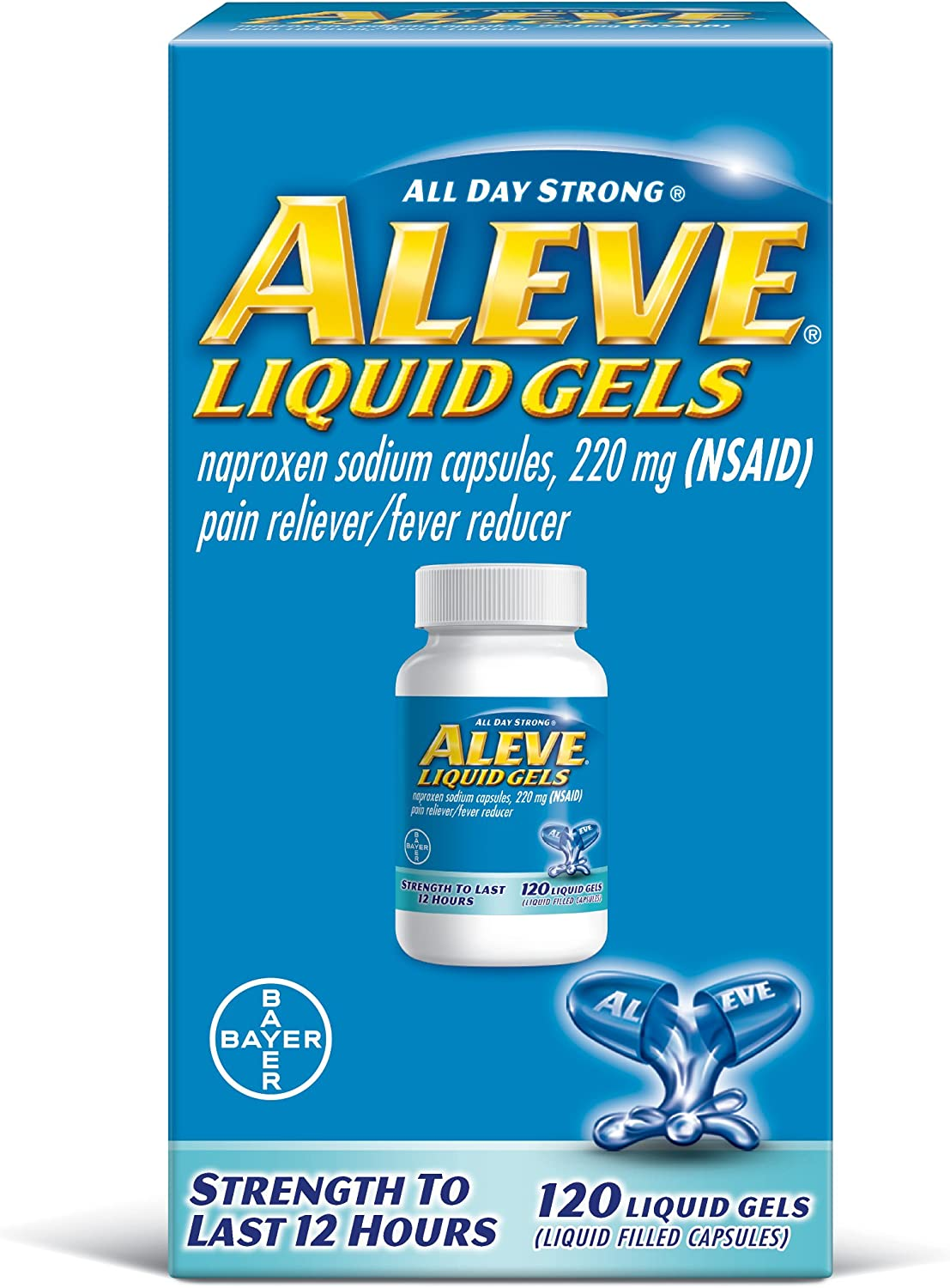 Aleve Liquid Capsules, Naproxen Sodium Capsules 220 mg (NSAID), Pain Reliever/Fever Reducer, Fast Pain Relief, 120 Count: Health & Personal Care