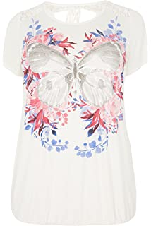 Yours Clothing Women/'s Plus Size White Butterfly Print Chiffon Vest Top