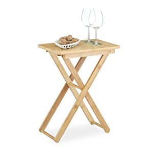 Relaxdays Table d'appoint pliable bambou table de jardin table console rectangle balcon terrasse HxlxP: 52 x 40 x 31 cm- nature
