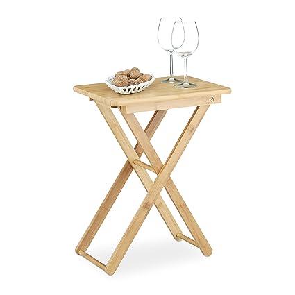 Tavolini Pieghevoli Da Salotto.Relaxdays Tavolino Pieghevole Da Salotto Giardino In Bambu Piccolo Forma Rettangolare Hxlxp 52x40x31 Cm Marrone