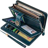 UMODE Vintage Style Genuine Leather Large Capacity Wallet Organizer for Women
