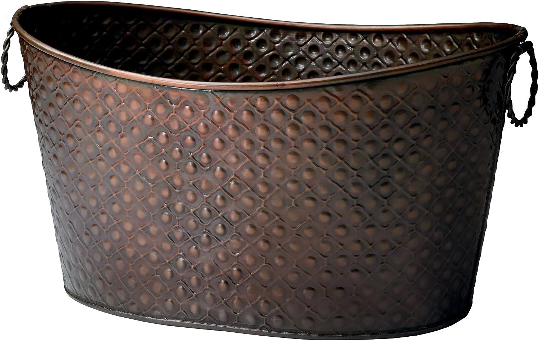 KINDWER Copper Relief Oval Beverage Tub/Planter