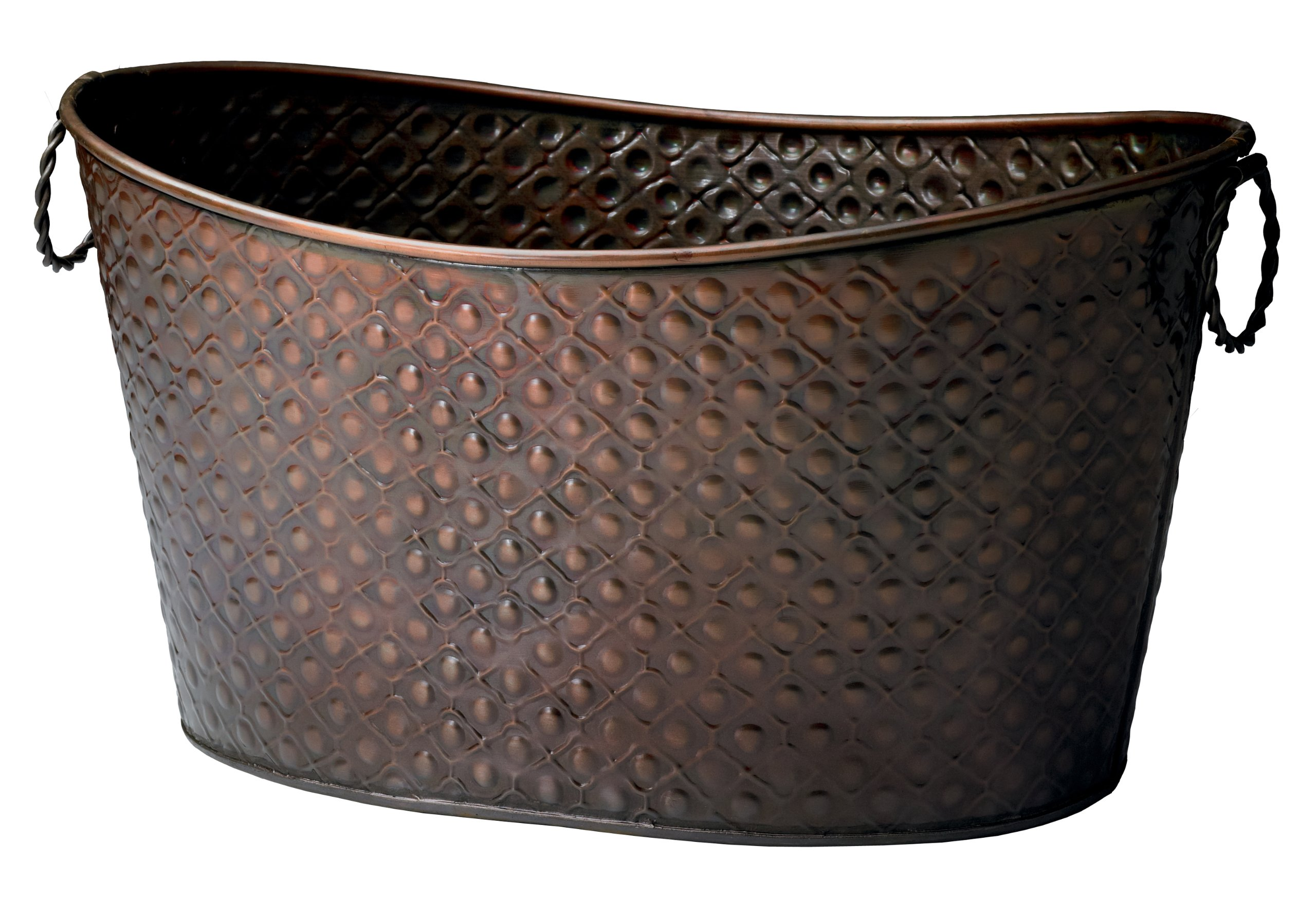 KINDWER Copper Relief Oval Beverage Tub/Planter